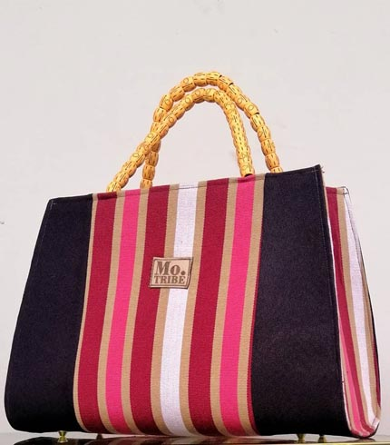 Pink & Cream Smock Design Bag