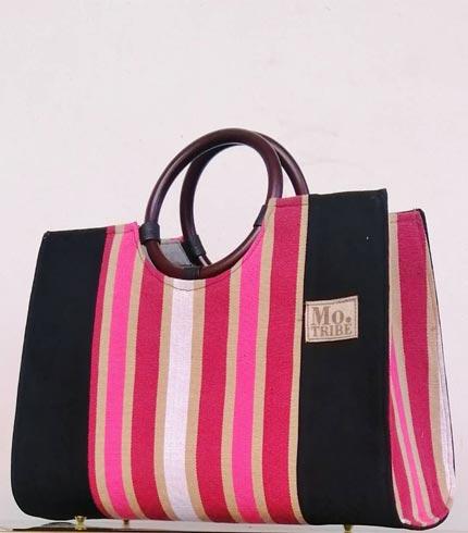 Pink & Cream Smock Design Handbag