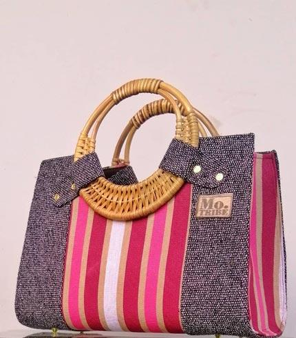 Pink & Grey Smock Design Handbag