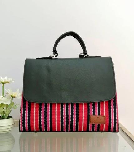 Pink & Red Smock Design Handbag