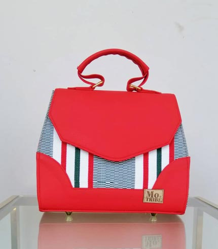 Red & White Smock Design Handbag