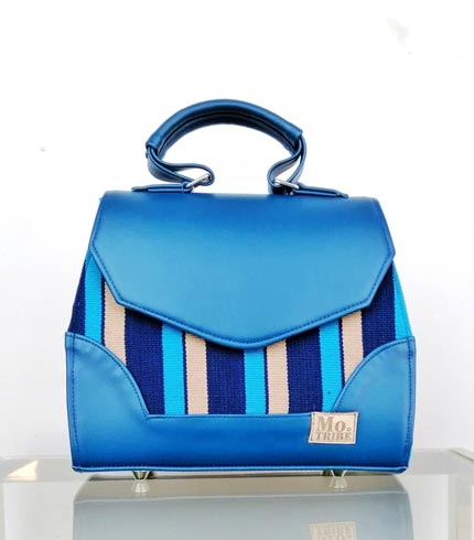 Sea Blue Smock Design Handbag