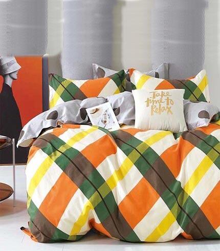 Orange & Green Kingsize Bedsheet Set